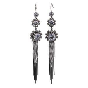 Elegant black flower tassel earrings